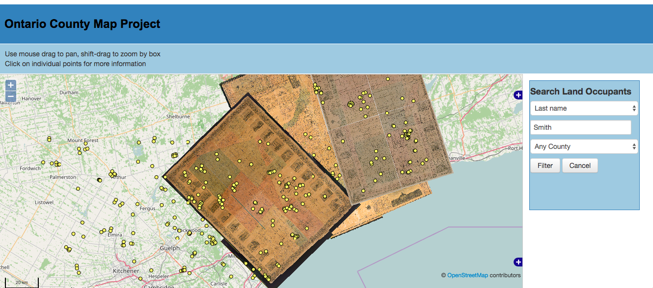 Openlayers-Mapserver-PostGIS rendition of the Ontario Historical County Map Project