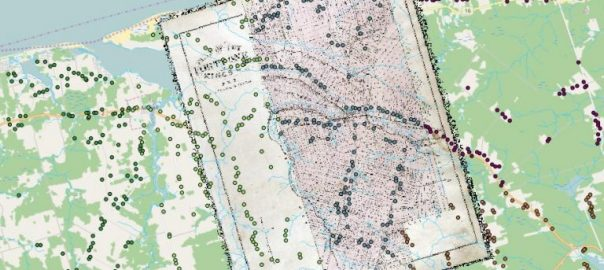 Detail of a georeferenced historical map and the combined digitized house locations from the 1880 Historical Atlas of PEI. Each student digitized a different township, symbolized here by the different colours.