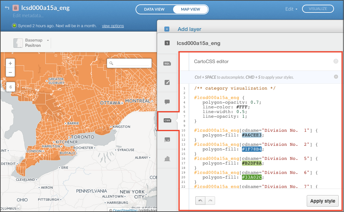 Carto graphic interface for editing layer graphics using CartoCSS (one of several methods)