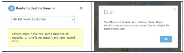 AGOL O-D error message table